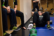DALLAS, TX - MARCH 14:  UFC lightweight champion Anthony Pettis sits in the locker room before his fight against Rafael Dos Anjos during UFC 185 at the American Airlines Center on March 14, 2015 in Dallas, Texas. (Photo by Cooper Neill/Zuffa LLC/Zuffa LLC via Getty Images) *** Local Caption *** Anthony Pettis