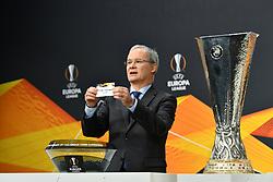NYON, SWITZERLAND - Monday, December 14, 2020: UEFA Deputy General Secretary Giorgio Marchetti draws out Dynamo Kiev during the UEFA Europa League 2020/21 Round of 32 draw at the UEFA Headquarters, the House of European Football. (Photo Handout/UEFA)