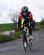 United Kingdom, Finchingfield, Mar 27, 2010:  Shaun Jenkinson, East Bradford CC approaches the 4 miles to go marker during the 2010 edition of the  'Jim Perrin' Memorial Hardriders 25.5 mile Sporting TT promoted by Chelmer Cycling Club. Copyright 2010 Peter Horrell.