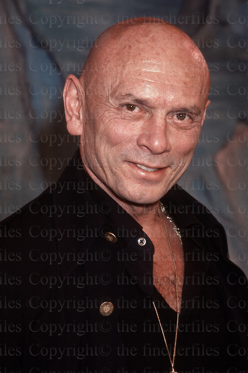 American actor Yul Brynner seen during a visit to London for the London stage show of 'the King and I'in 1978.