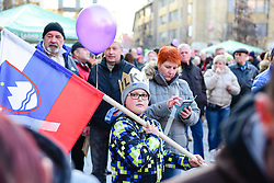Fan of Ilka Stuhec during a home coming parade to celebrate Downhill World Champion Title at the World Ski Championships 2017 in St. Moritz (SUI), on February 19, 2017 in Trg Leona Stuklja, Maribor, Slovenia. Photo by Mario Horvat / Sportida