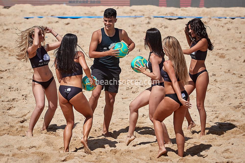NAZARE, PORTUGAL - JUNE 7: Cheerleadres during the Euro Winners Cup Nazaré 2019 at Nazaré Beach on June 7, 2019 in Nazaré, Portugal. (Photo by Jose M. Alvarez)