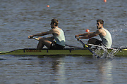 Hazenwinkel, BELGIUM,  Men's Pair, [ M2-],  Bow: Tom JAMES and Kieran WEST, in the last strokes of the morning time trial, at the GB Rowing Senior Trials, on Sun,15.04.2007  [Credit, Peter Spurrier/Intersport-images]   [Mandatory Credit, Peter Spurier/ Intersport Images]. , Rowing Course, Bloso, Hazewinkel. BELGUIM