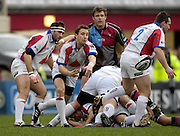 Twickenham, GREAT BRITAIN, Bristol fly half, Brian RIORDAN, feeds the ball out from the back of the scrum, during the Guinness Premieship match, NEC Harlequins vs Bristol Rugby, at the Twickenham Stoop Stadium, England, on Sat 24.02.2007  [Photo, Peter Spurrier/Intersport-images].....