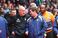 Burton Albion manager Nigel Clough and Nottingham Forest manager Mark Warburton during the EFL Sky Bet Championship match between Nottingham Forest and Burton Albion at the City Ground, Nottingham, England on 21 October 2017. Photo by John Potts.
