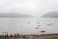 New Windsor, New York - Kayakers paddle Hudson River at the Paddlefest event sponsored by the Mid-Hudson Chapter of the Adirondack Mountain Club at Kowawese Unique Area at Plum Point on  Sunday, June 13, 2010.
