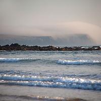 Europe, United Kingdom, Wales, Pembrokeshire. Pembrokeshire Coast in fog, Freshwater West Beach.