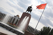 Equestrian Bronze statue of Kyrgyz national hero Manas in the centre of Ala-Too Square in Bishkek, the capital of Kyrgyzstan