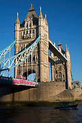 "The Bridges Not Walls movement drop a banner reading ""Bridges Not Walls' from Tower Bridge in London to coincide with banner drops all over the UK sending a clear message to Donald Trump the 45th president of the United States to build bridges not walls on the day of his inauguration."