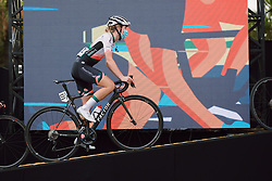 Demi Vollering (NED) climbs onto the presentation stage at the 2020 La Course By Le Tour with FDJ, a 96 km road race in Nice, France on August 29, 2020. Photo by Sean Robinson/velofocus.com