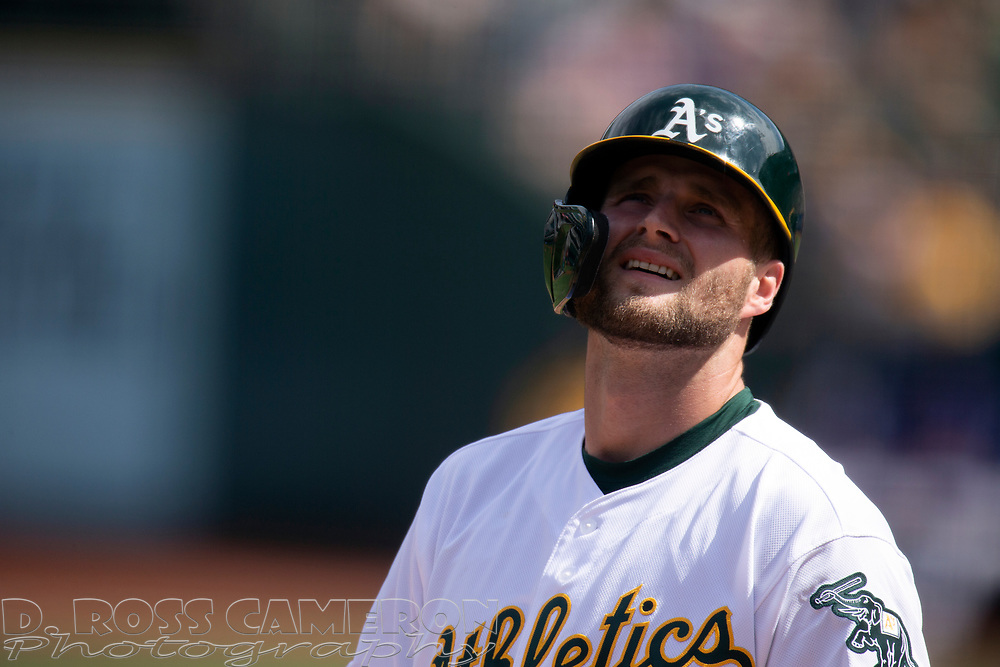 Oakland Athletics' Seth Brown reacts to being called out on strikes during the second inning of a baseball game against the Texas Rangers, Sunday, Sept. 22, 2019, in Oakland, Calif. (AP Photo/D. Ross Cameron)