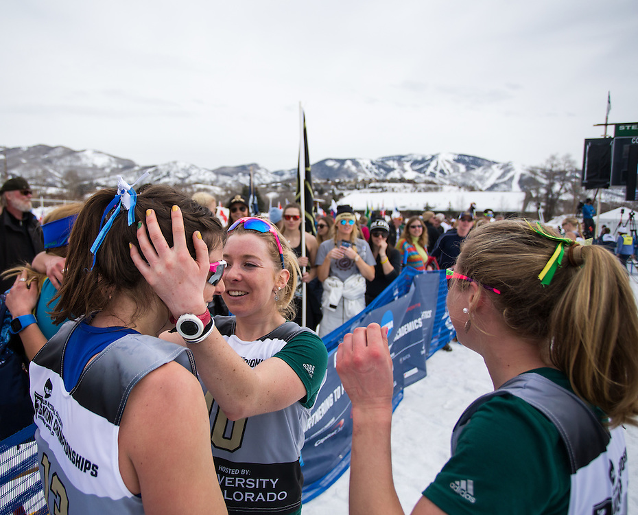 Olivia Amber of Colby College and Iris Pessey of the University of Vermont, during the NCAA Skiing Championships Classical Mass Start on Saturday March 12, 2016 at Howelsen Hill in Steamboat Springs, CO. (Dustin Satloff)