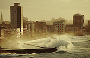 CUBA, HAVANA..View towards Malecon from El Morro Castle during a winter storm..(Photo by Heimo Aga)