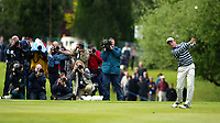 Photograph: Scott Heavey<br />Volvo PGA Championship At Wentworth Club. 25/05/2003.<br />Ignacio Garrido heads towards the 18th green with the media in tow.