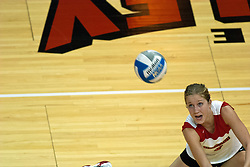 16 September 2006  Redbird Mary Catherine Richmond goes to the floor for a dig. The Wichita State Shockers ruled the Illinois State Redbirds roost taking 3 straight games and the match in Missouri Valley Conference play. The match took place at Redbird Arena on the campus of Illinois State University in Normal Illinois.