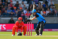 Ben Cox of Worcestershire plays an attacking shot during the Vitality T20 Finals Day Semi Final 2018 match between Worcestershire Rapids and Lancashire Lightning at Edgbaston, Birmingham, United Kingdom on 15 September 2018.