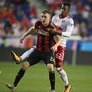 HARRISON, NEW JERSEY- OCTOBER 15: Julian Gressel #24 of Atlanta United challenged by Michael Murillo #62 of New York Red Bulls during the New York Red Bulls Vs Atlanta United FC, MLS regular season match at Red Bull Arena, Harrison, New Jersey on October 15, 2017 in Harrison, New Jersey. (Photo by Tim Clayton/Corbis via Getty Images)
