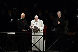 April 14, 2017 - Rome, Italy - Pope Francis leads the Way of the Cross (Via Crucis in Latin) celebrated at the Colosseum on Good Friday as part of the Easter Holy week celebrations in Rome, Italy. The Way of the Cross is part of the Easter tradition in Catholic countries. It takes place on Good Friday and commemorates the passion and death of Jesus Christ through the reading of prayers along a path of 14 stations. The stations all refer to different stages of Jesus' last journey to the Golgotha. In Rome, the traditional Via Crucis takes place at the ancient Colosseum amphitheater. (Credit Image: © Giuseppe Ciccia/Pacific Press via ZUMA Wire)