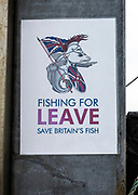 Fishing for Leave Brexit poster at Orford, Suffolk, England, UK