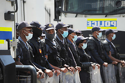 SouthAfrica - Cape Town - 7 October 2020 - Police infront of Parliament. Union members fromCosatu, Fedusa, Saftu and Nactu have joined forces to protest against what they consider a failed government that has overseen the repression of workers. The march started at the Civic Centre where they delivered a memorandum of demands and then moved to the Provincial Legislature and finished at National Parliament. Photographer: Armand Hough/African News Agency(ANA)