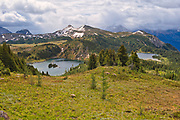Rock Isle Lake (left) and Laryx Lake (right) in Alpine region of the Canadian Rocky Mountains. Sunshine Meadows. <br /> <br /> Alberta<br /> Canada