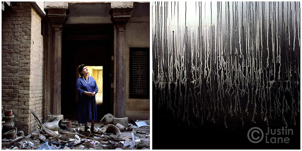 At left, a woman confronts the looted wreckage of the house in Baghdad where her family lived for generations and which she had transformed into a center for art and discourse. At right, a detail of paint melted by an looter's fire on one of the home's walls.