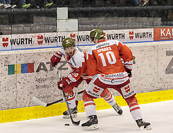 21.03.2017, Eiswelle, Bozen, ITA, EBEL, HCB Suedtirol Alperia vs UPC Vienna Capitals, Playoff, Halbfinale, 4. Spiel, im Bild Jesse Root (HCB Suedtirol), Lindsay Sparks (HCB Suedtirol) // during the Erste Bank Icehockey League, playoff semifinal 4th match between HCB Suedtirol Alperia and UPC Vienna Capitals at the Eiswelle in Bozen, Italy on 2017/03/21. EXPA Pictures © 2017, PhotoCredit: EXPA/ Johann Groder