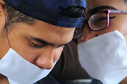A couple wearing surgical mask while rides on the subway, Mexico is applying the mandatory use of the protective masks at public transport in an attempt to stop the widespread of the SARS Cov-2 which causes COVID-19 on April 17, 2020 in Mexico City, Mexico. Photo by Ricardo Castelan Cruz/Eyepix/ABACAPRESS.COM