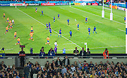 """London, Great Britain, """"The Field of Play. big screen. Pool D game,  France vs Romania. 2015 Rugby World Cup. Venue. The Stadium Queen Elizabeth Olympic Park. Stratford. East London. England,, Wednesday  23/09/2015. <br /> [Mandatory Credit; Peter Spurrier/Intersport-images]"""