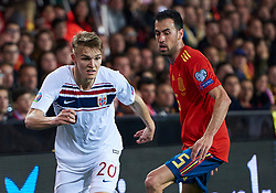 March 23, 2019 - Valencia, U.S. - VALENCIA, SPAIN - MARCH 23: Martin Odegaard, midfielder of Norway and Sergio Busquets, midfielder of Spain looks during the 2020 UEFA European Championships group F qualifying match between Spain and Norway at Mestalla stadium on March 23, 2019 in Valencia, Spain. (Photo by Carlos Sanchez Martinez/Icon Sportswire) (Credit Image: © Carlos Sanchez Martinez/Icon SMI via ZUMA Press)