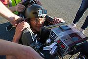 Calvin Moes in de Eta Prime tijdens de vijfde racedag. In Battle Mountain (Nevada) wordt ieder jaar de World Human Powered Speed Challenge gehouden. Tijdens deze wedstrijd wordt geprobeerd zo hard mogelijk te fietsen op pure menskracht. Het huidige record staat sinds 2015 op naam van de Canadees Todd Reichert die 139,45 km/h reed. De deelnemers bestaan zowel uit teams van universiteiten als uit hobbyisten. Met de gestroomlijnde fietsen willen ze laten zien wat mogelijk is met menskracht. De speciale ligfietsen kunnen gezien worden als de Formule 1 van het fietsen. De kennis die wordt opgedaan wordt ook gebruikt om duurzaam vervoer verder te ontwikkelen.<br /> <br /> In Battle Mountain (Nevada) each year the World Human Powered Speed Challenge is held. During this race they try to ride on pure manpower as hard as possible. Since 2015 the Canadian Todd Reichert is record holder with a speed of 136,45 km/h. The participants consist of both teams from universities and from hobbyists. With the sleek bikes they want to show what is possible with human power. The special recumbent bicycles can be seen as the Formula 1 of the bicycle. The knowledge gained is also used to develop sustainable transport.