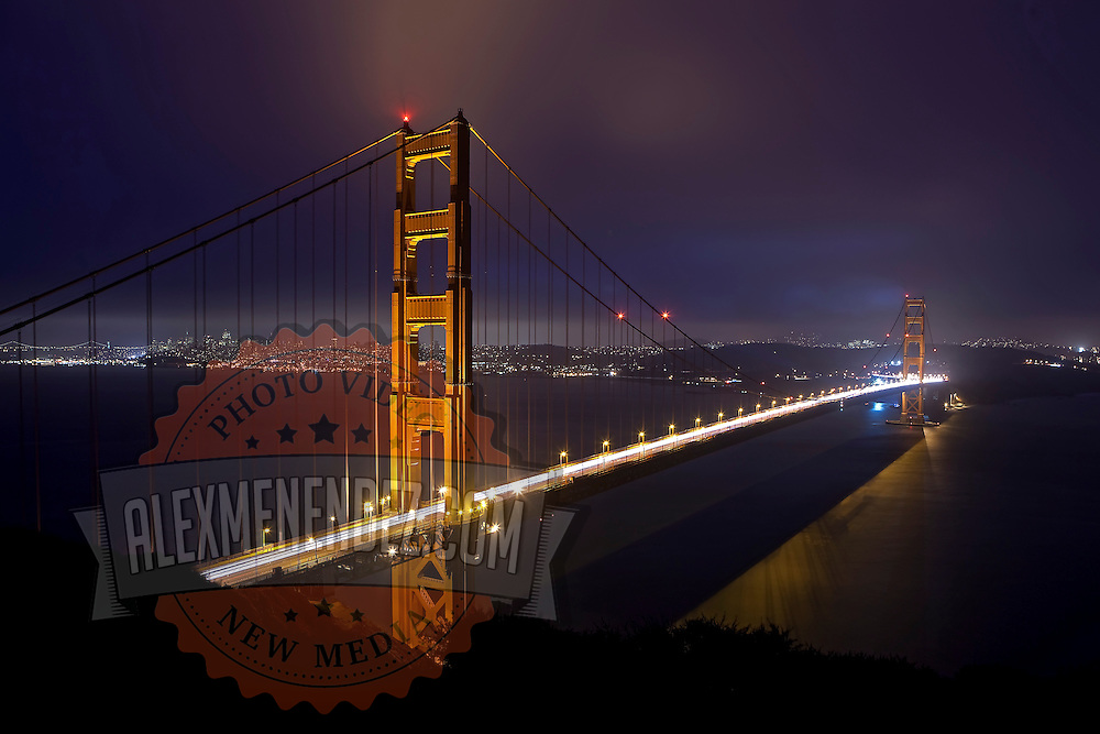 A general overview of the fog blowing in over the Golden Gate Bridge from the Marin Headlands in San Francisco, California on Monday, Oct. 24, 2011 during a 30 second long exposure. The Golden Gate Bridge is undergoing a re-painting of the main support cables for the first time in 75 years and is expected to be completed by 2015.  (AP Photo/Alex Menendez) Golden Gate Bridge in San Francisco, California. Golden Gate Bridge in San Francisco, California.