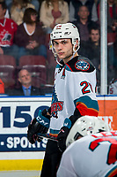 KELOWNA, BC - MARCH 7: Matthew Wedman #20 of the Kelowna Rockets lines up for the face-off against the Lethbridge Hurricanes at Prospera Place on March 7, 2020 in Kelowna, Canada. Wedman was selected in the 2019 NHL entry draft by the Florida Panthers. (Photo by Marissa Baecker/Shoot the Breeze)