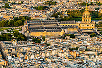 aerial view invalides chuch cityscape of Paris in france