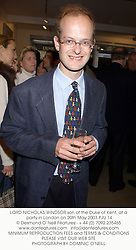 LORD NICHOLAS WINDSOR son of the Duke of Kent, at a party in London on 20th May 2003.PJU 14