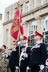 Barnsley turned out in force to welcome home from Operation Herrick 16 The Light Dragoons Englands Northern Cavalry  today (13th November 2012). Led by the Band of Heavy Cavalry and Cambrai around 250 troops supported by military vehicles made their way around Barnsley Town centre to the town hall for an official reception, a presentation and inspection... Left to right from Barnsley SQMS Steve Crossland, RQMS(T) Mike Wilkinson and SQMS Jamie Bower make up part of the Guidon Party (regimental standard Party) in their home town...13 November 2012.Image © Paul David Drabble