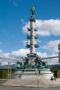 monument to Admiral Wilhelm von Tegetthoff, Praterstern roundabout at Praterstern station, Vienna, Austria