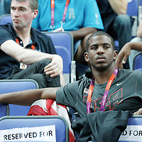 11 August 2012: USA Chris Paul is seen courtside during 86-50 Team USA victory over Team France, during the Women's Gold Medal Game, at the North Greenwich Arena, in London, Great Britain.