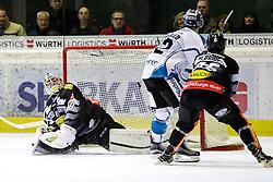 23.12.2016, Messestadion, Dornbirn, AUT, EBEL, Dornbirner Eishockey Club vs EHC Liwest Black Wings Linz, 34. Runde, im Bild v. l. Florian Hardy, (Dornbirner Eishockey Club, #49), Rick Schofield (EHC Liwest Black Wings Linz, #22) und Brock McBride, (Dornbirner Eishockey Club, #86) // during the Erste Bank Icehockey League 34th round match between Dornbirner Eishockey Club and EHC Liwest Black Wings Linz at the Messestadion in Dornbirn, Austria on 2016/12/23, EXPA Pictures © 2016, PhotoCredit: EXPA/ Peter Rinderer