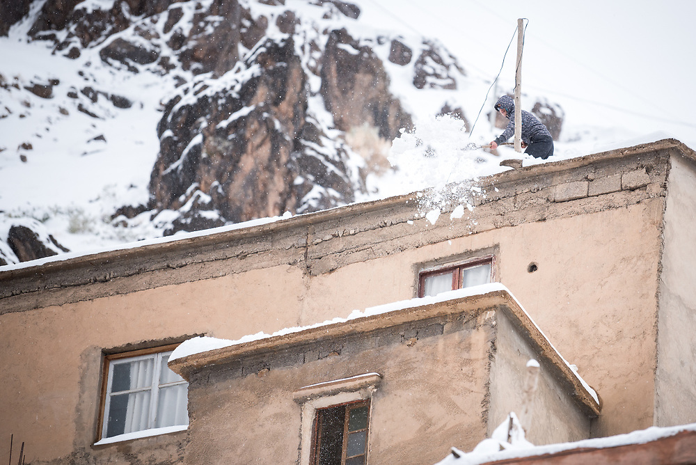 7 January 2018, Imlil, Morocco: Although heavy snowfall means heavy work for the villagers in cleaning up rooftops and roads, it is also a welcome contribution, as the snow helps attract tourists to the area, as well as secure water supplies to local agriculture.