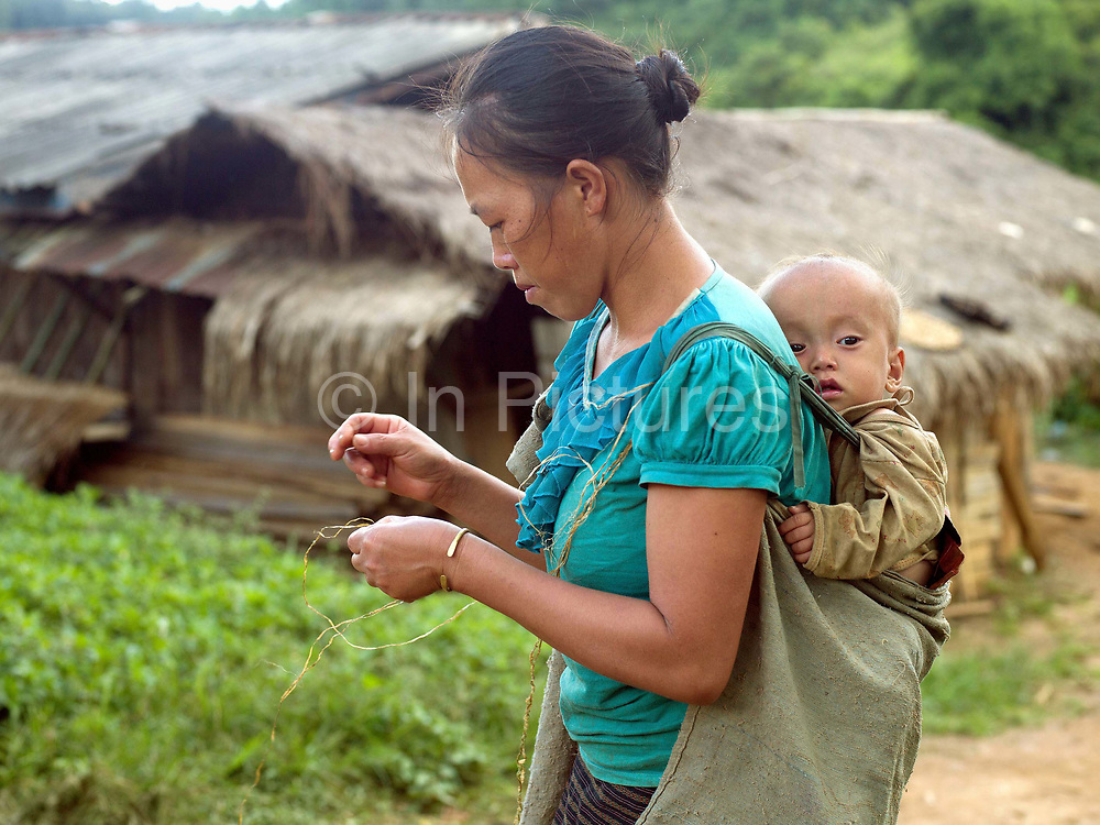 A Hmong woman, carrying her baby on her back, twisting lengths of hemp bark together to form one long yarn, Ban Long Kuang, Houaphan province, Lao PDR. The yarn is wrapped around the hand in a figure of 8 creating a ball shape. Making hemp fabric is a long and laborious process; the end result is a strong durable cloth with qualities similar to linen which the Hmong women use to make their traditional clothing. In Lao PDR, hemp is now only cultivated in remote mountainous areas of the north.