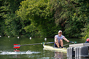 """Henley on Thames, United Kingdom, 3rd July 2018, Sunday,  """"Henley Royal Regatta"""", The Diamond Challenge Sculls, Finalist, Kjetil BORCH NOR M1X, powers away from the Start,  View, Henley Reach, River Thames, Thames Valley, England, UK."""
