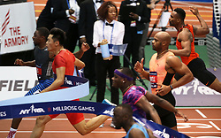 NEW YORK, Feb. 4, 2018  Xie Zhenye(2nd L) of China competes during the Joe Yancey Men's 60m of the 111th NYRR Millrose Games in New York, the United States on Feb. 3, 2018. Xie Zhenye won the third place by 6.588 seconds. (Credit Image: © Qin Lang/Xinhua via ZUMA Wire)