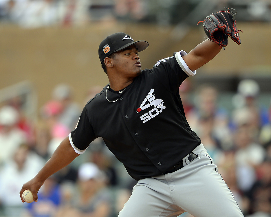 SCOTTSDALE, ARIZONA - MARCH 05:  Reynaldo Lopez #40 of the Chicago White Sox pitches against the Arizona Diamondbacks during a spring training game on March 5, 2017 at Salt River Fields at Talking Stick in Scottsdale, Arizona.  (Photo by Ron Vesely)   Subject:  Reynaldo Lopez