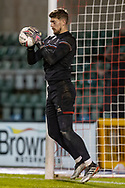 Lincoln City  Goalkeeper Alex Palmer (1) warms up before the EFL Sky Bet League 1 match between Lincoln City and Shrewsbury Town at Sincil Bank, Lincoln, United Kingdom on 15 December 2020.