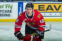 KELOWNA, BC - FEBRUARY 8: Reece Newkirk #12 of the Portland Winterhawks skates agaisnt the Kelowna Rockets at Prospera Place on February 8, 2020 in Kelowna, Canada. Newkirk was selected in the 2019 NHL entry draft by the New York Islanders. (Photo by Marissa Baecker/Shoot the Breeze)