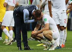 MOSCOW, July 11, 2018  England's head coach Gareth Southgate (L) comforts Harry Maguire after the 2018 FIFA World Cup semi-final match between England and Croatia in Moscow, Russia, July 11, 2018. Croatia won 2-1 and advanced to the final. (Credit Image: © Yang Lei/Xinhua via ZUMA Wire)
