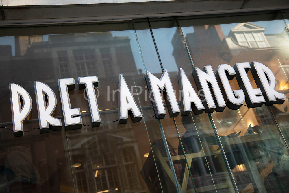 Sign for the sandwich shop and brand Pret A Manger in London, United Kingdom.