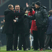 Galatasaray's coach Fatih Terim (L) and IBBSpor's coach Arif Erdem (C) during their Turkish Super League soccer match Galatasaray between IBBSpor at the TT Arena at Seyrantepe in Istanbul Turkey on Tuesday, 03 January 2012. Photo by TURKPIX