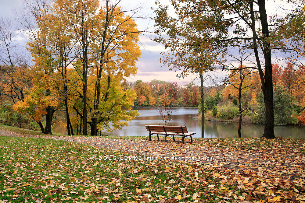 A Walking Path And Park Bench Overlooking A Lake On A Rainy Day In Autumn, Sharon Woods, Southwestern Ohio